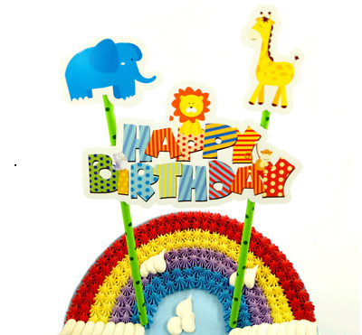 £2.99 • Buy Kids Jungle Animal CAKE BUNTING Banner Topper Decoration Birthday Kids Party