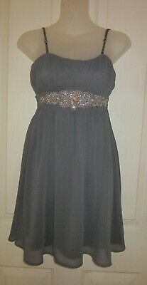 AU5 • Buy FOREVER NEW Grey Party Dress W/ Sparkling Detail Removable Straps - Size 6