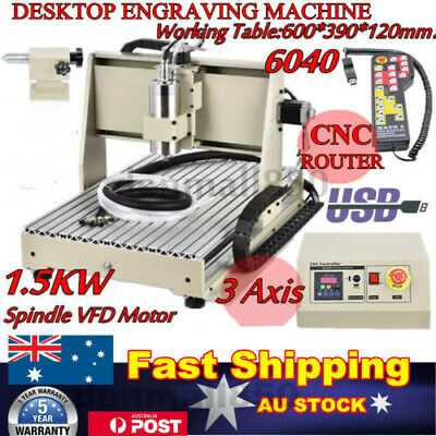 AU1276 • Buy 3Axis CNC 6040 USB Router Engraver Machine Drill Woodwork Cutting 1.5KW + Remote
