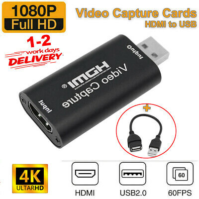 HDMI Video Capture Card USB 2.0/1080p HD Recorder For Video Live Streaming/Game • 8.99£