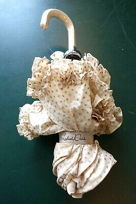 £19.99 • Buy ~ Lisbeth Dahl ~ IVORY WHITE FRILLY FOLDING UMBRELLA WITH  SILVER DOTS
