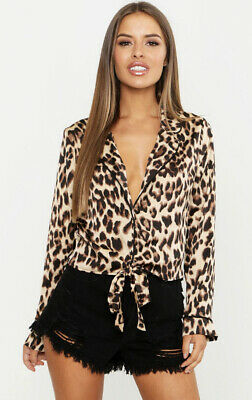 Boohoo Size 14 Petite Tie Front Leopard Print Top (New With Tags) • 6£