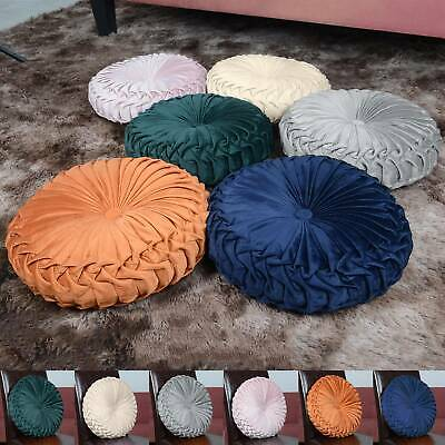 Colourful Round Filled Crushed Velvet Cushions Seat Home Sofa Decor Pads Pillow • 10.79£