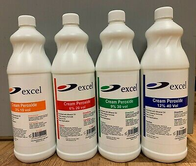Excel Salon Creme Peroxide 1000ml 3% 10vol 6% 20vol 9%3vol 12% 40vol • 5.95£