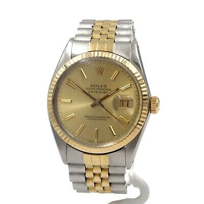 $ CDN4218.24 • Buy Rolex 18k Stainless Two Tone Datejust 16013 W/box Papers Jubilee 36mm Nr #8690