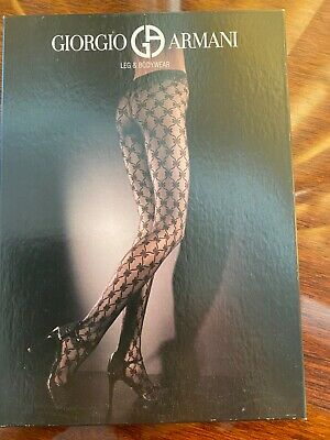 Wolford For GIORGIO ARMANl LEG & BODYWEAR Cold Brown Tights With Bow S NEW • 9.99£