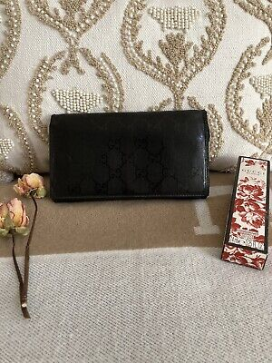 $199 • Buy Gucci Vintage Guccissima Gg Black Canvas Leather Long Wallet Bifold Used ❤️❤️❤️