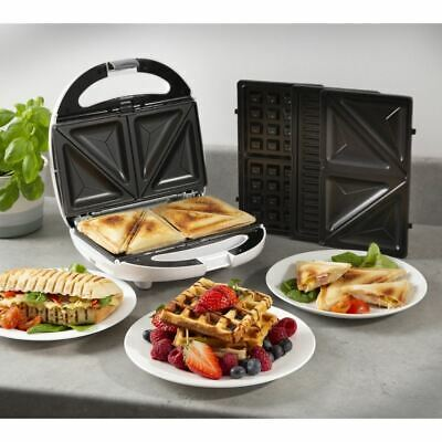 800w White Tower 3-in-1 Toasted Snack Maker Waffles Panini Grill Sandwich • 29.99£