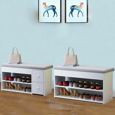 White Shoe Storage Bench Cabinet Soft Padded Seat Organiser Drawers Stand Rack  • 35.99£