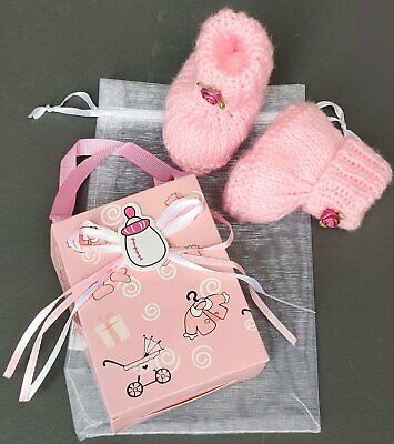 New  NEWBORN - 3M BABY GIRL HAND KNITTED BOOTIES BOOTS SHOES GIFT SET IN PINK • 3.95£