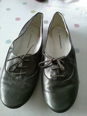 Dorothy Perkins Grey/pewter Flat Laceup Shoes Size Uk 7 • 2.50£