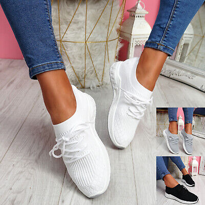$ CDN22.78 • Buy Womens Ladies Knit Trainers Slip On Lace Up Snakers Party Women Shoes Size