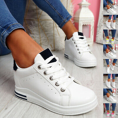 $ CDN22.78 • Buy Womens Ladies Wedge Trainers Lace Up Slip On Party Sneakers Women Shoes Size Uk