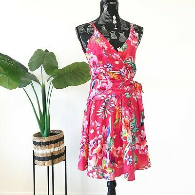 AU27.50 • Buy Forever New Dress Size 6 Floral Pleated Sleeveless Straps Ribbons Event Party