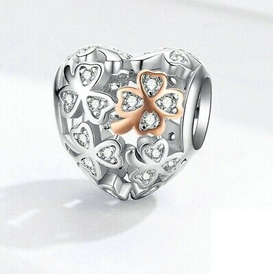 AU27.99 • Buy SOLID Sterling Silver Rose Gold PL Lucky Clover Heart Charm By Pandora's Wish