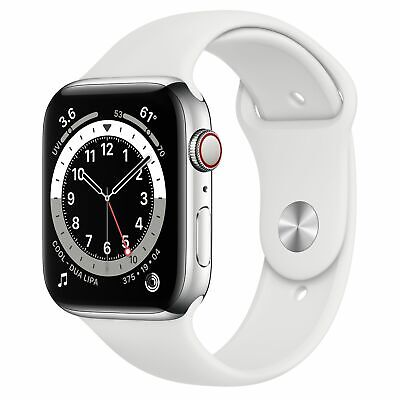 $ CDN1192.45 • Buy Apple Watch Series 6 44mm Silver Stainless Steel White Sport Band R