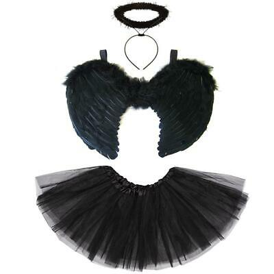 Black Angel Wings, Halo & Tutu Dark Fallen Angel Halloween Fancy Dress Costume • 9.75£