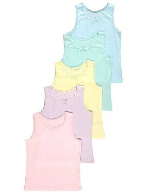 5 Pack Girls Pastel Colour Vests Tops School Vests Age 1.5-8 Years • 8.50£