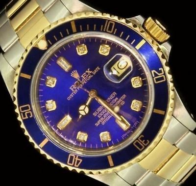 $ CDN13033.28 • Buy Rolex Mens Submariner Blue 18K Gold Stainless Steel Diamond Two Tone Watch