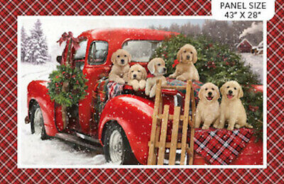 Santa's Helpers Christmas Puppies Dogs Labradors Large Quilt Fabric Panel  • 13.01£