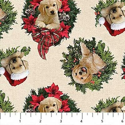Santa's Helpers Cute Puppies Wreaths Dogs Labradors Christmas Quilt Fabric  • 4.11£