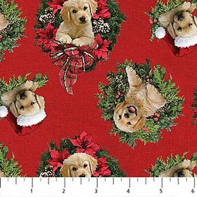 Santa's Helpers Cute Puppies Wreaths Dogs Labradors Red Christmas Quilt Fabric  • 4.11£