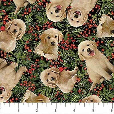 Santa's Helpers Cute Puppies Labradors Holly Dogs Christmas Quilt Fabric  • 4.11£