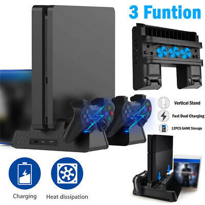 AU35.03 • Buy For PS4 Slim Pro Vertical Stand With 3 Cooling Fan Controller Charging Station