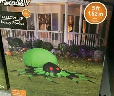$ CDN79.86 • Buy Halloween Scary Spider Airblown Inflatable GEMMY 5 Ft Porch Party Greeter LED