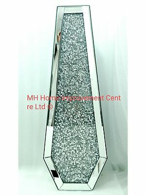 Silver Decorative Floor Vase Mirrored Sparkly Diamond Crush Tall DAMAGE • 199£