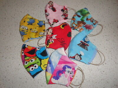 AU10 • Buy Handmade Kids Face Mask 3layer, Reusable & Washable, Cotton Printed Designs 4-12