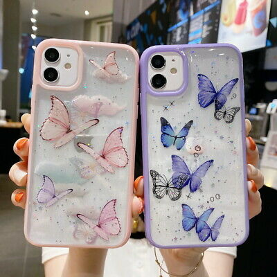 AU4.69 • Buy For IPhone 12 11 Pro Max XS XR X 8 7+ Glitter Butterfly Pattern Soft Case Cover