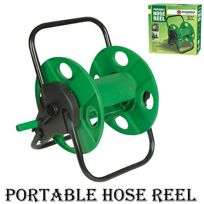 New 60m Portable Garden Hose Reel Water Pipe Free Standing Wall Mountable • 12.95£