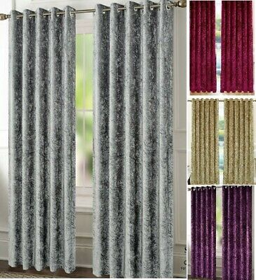 Crushed Velvet Curtains Pair Of Eyelet Ring Top Fully Lined Thermal Xmas GIFT • 26.99£
