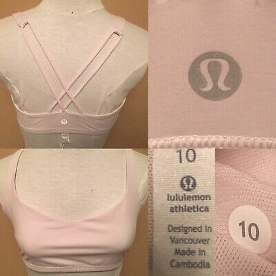 $ CDN34.99 • Buy Lululemon Free To Be Bra Strappy Sports Bra Size 10 Light Pink Pretty Run Yoga