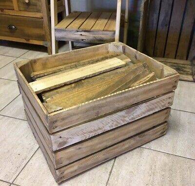 Large Wooden Used Crate Apple Box - With Kindling / Wood Scrap - Free Delivery • 22.99£