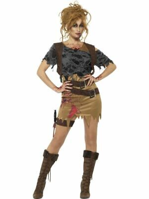 £17.99 • Buy Womens Deluxe Zombie Huntress Costume Tomb Raider Halloween Fancy Dress Outfit