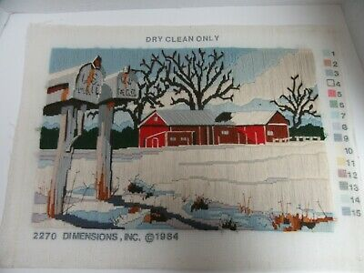 Finished Long Stitch Dimensions Winter Delivery Red Barn Mailbox Completed 2270 • 23.27£