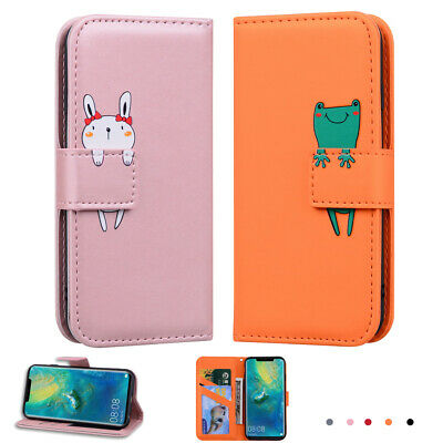 Cute Flip Wallet Card Case Cover For Huawei Y7 2019 Mate 20 P30 Shockproof Stand • 5.08£