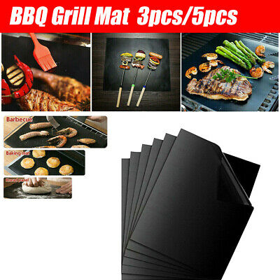 AU12.34 • Buy 3/5x Reusable BBQ Grill Mats Baking Cooking Sheet Non-Stick Teflon Barbecue Pad