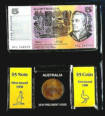 AU40 • Buy Five Dollar $5 FIRST And LAST Coin And Banknote Wallet - See Photos