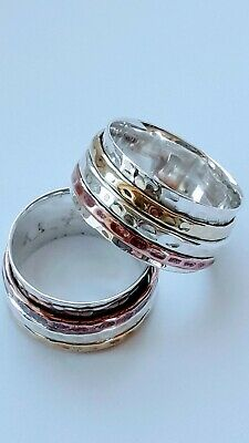 Sterling Silver 3 Band Copper/Silver/Brass Spinning Ring • 20£
