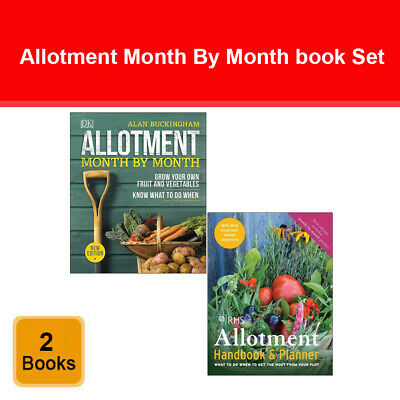 Allotment Month By Month, RHS Allotment Handbook & Planner 2 Books Collection  • 27.99£