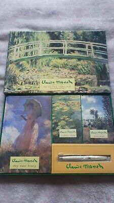 CLAUDE MONET Gift Set - Any Year Diary, Address Book, Notebook & Pen NEW • 5£