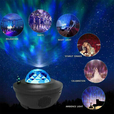 LED Galaxy Star Projector Music Night Light Starry Ocean Wave Lamp Gifts For Kid • 18.88£
