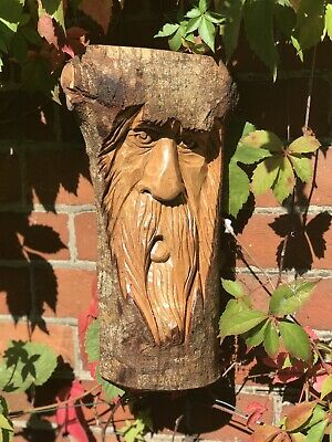 Green Man Wooden Carving - Large Half Tree Log 37cm. Hand Made. Garden /Interior • 26.99£