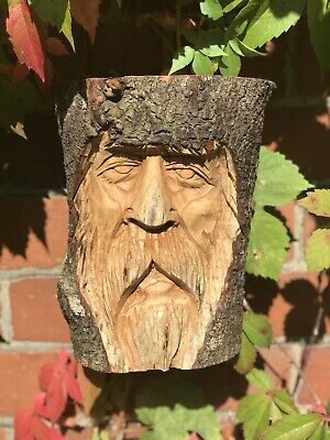 Green Man Wooden Carving - Large Half Tree Log 23cm. Hand Made. Garden /Interior • 22.99£