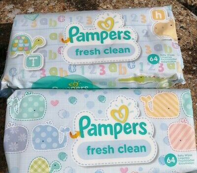 4 Packs Pampers Fresh Clean Face Hand Baby Wipes Pack 64 Hygiene Everyday Wipe • 4.99£