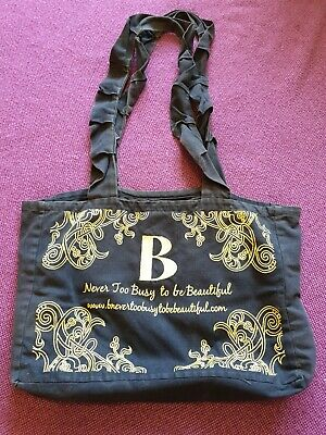 B Never Too Busy To Be Beautiful Black Canvas Bag, Gold Embroidery RARE LUSH  • 30£