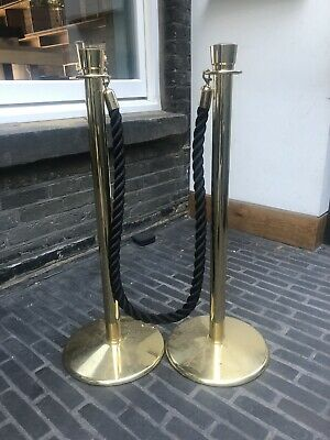 Brass Crowd Barrier Twisted Black Rope • 3.50£